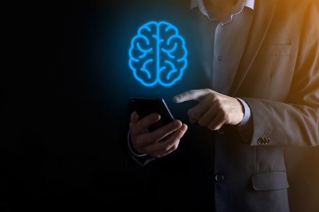 抽象的な頭脳とアイコンのツール、デバイス、仮想、革新的な開発、未来の技術、科学、革新、ビジネスコンセプトの顧客ネットワーク接続通信を保持しているビジネスマン