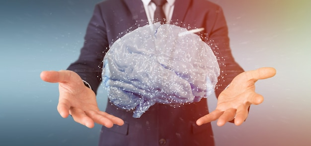 Businessman holding a  artificial brain