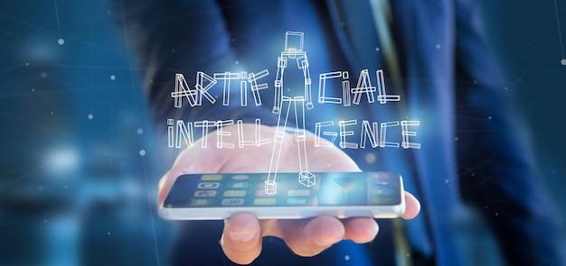Businessman holding an artificial inteligence robot made of light 3d rendering
