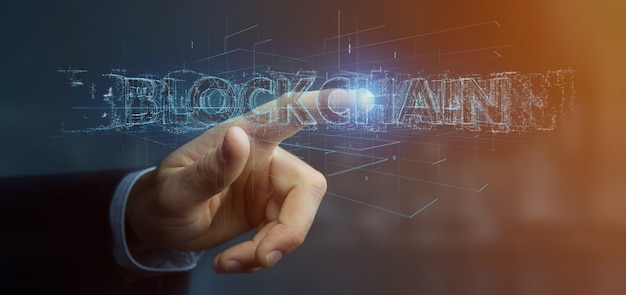 Businessman holding a blockchain title isolated
