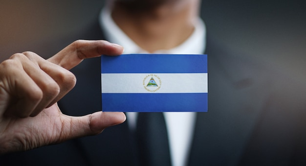 Businessman holding card nicaragua flag