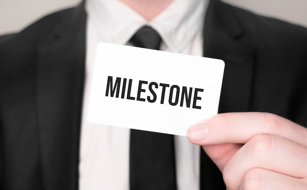 Businessman holding a card with text milestone