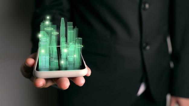 Бизнесмен, холдинг город голограмма
