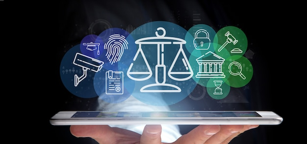 Businessman holding cloud of justice and law icon bubble with data 3d rendering