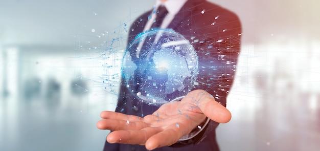 Businessman holding a  data earth globe