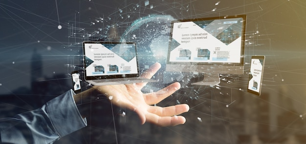 Businessman holding a devices connected to a global business network 3d rendering