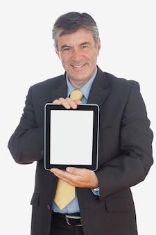 Бизнесмен, проведение цифровой планшет