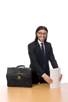 Businessman holding document isolated on white