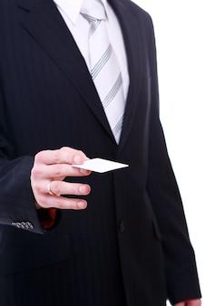 사업가 빈 탈취 카드를 들고
