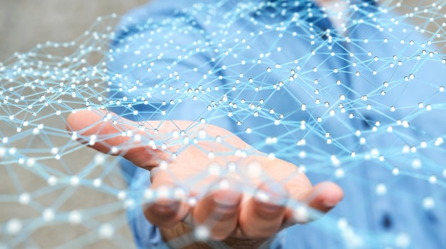 Businessman holding flying network dot 3d rendering