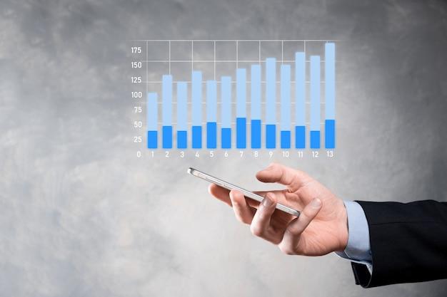 비즈니스 그래프 성장 및 차트 긍정적 지표의 증가를 유지하는 사업가 영업 데이터 및 경제 전략을 분석하고 디지털 마케팅 및 주식을 계획하는 개념 투자