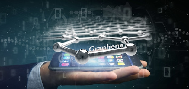 Businessman holding a graphene structure -