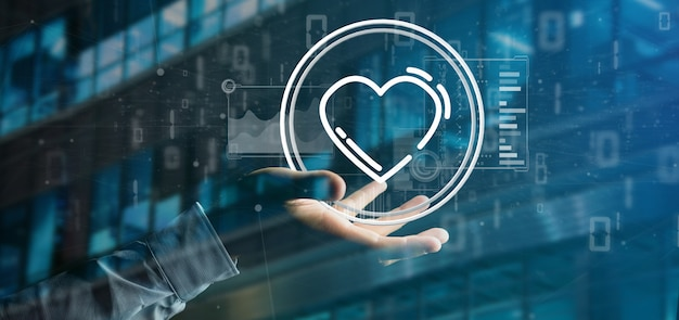 Businessman holding a heart icon surrounded by data