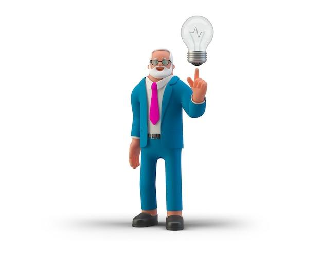 램프를 들고 사업가 흰색 배경 3d 그림에 고립 된 아이디어를 얻었다