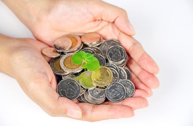 Бизнесмен, холдинг завод, прорастающий из горстки монет, финансы, концепция бизнеса, фон