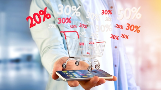 Businessman holding a red and white trolley and sales discount - 3d render