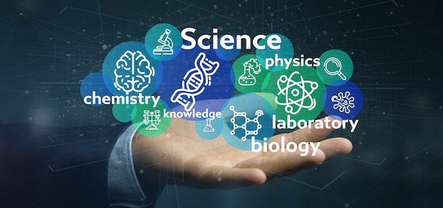 Businessman holding science icons and title
