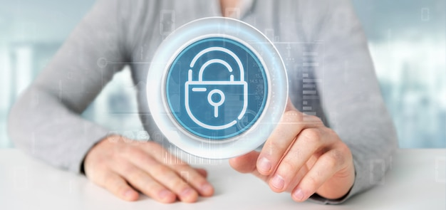 Businessman holding security padlock wheel icon with stats and binary code 3d rendering