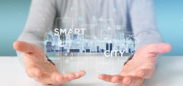 アイコン、統計およびデータの3 dレンダリングとスマートシティユーザーインターフェイスを保持している実業家