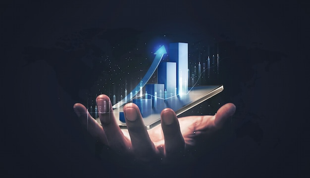 Businessman holding stock tablet and market economy graph statistic showing growth of profit analyzing financial exchange on increase digital money background with trade chart finance data concept.