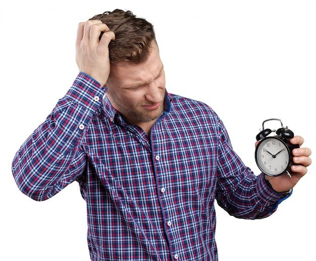 Businessman holding stop watch clock