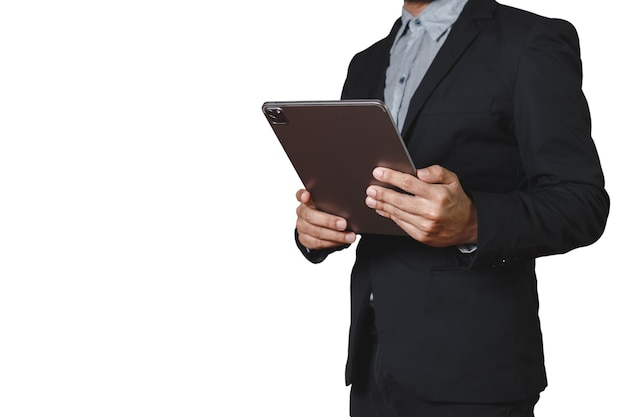Businessman holding tablet digital isolated on white background. clipping path.