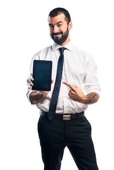 Uomo d'affari che tiene un ridurre in pani