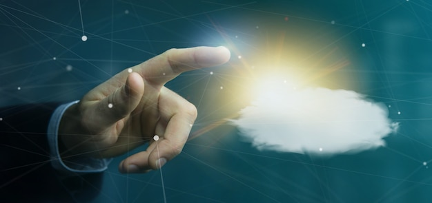 Businessman holding a weather forecast sun and cloud 3d rendering