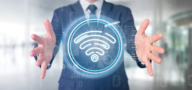 Businessman holding wifi icon with stats and binary code 3d rendering
