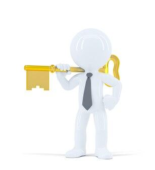 Businessman holds house keys