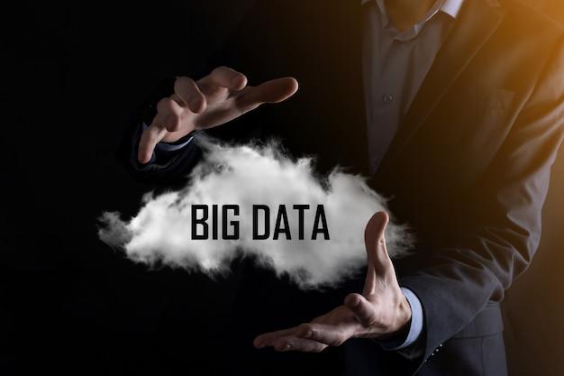 Businessman holds the inscription big data. padlock , brain ,man, planet,graph, magnifier, gears, cloud, grid, document, letter, phone icon.