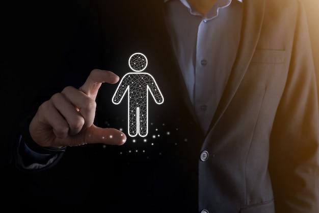 사업가 어두운 톤 wall.hr 인간, 사람 icontechnology 프로세스 시스템 사업 모집, 고용, 팀 빌딩에 남자 사람 아이콘을 보유하고있다. 조직 구조 개념.