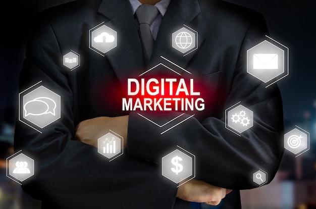 Интерфейс виртуального экрана цифрового маркетинга значка бизнесмена. идеи для личного развития и бизнеса; финансовые инвестиционные идеи