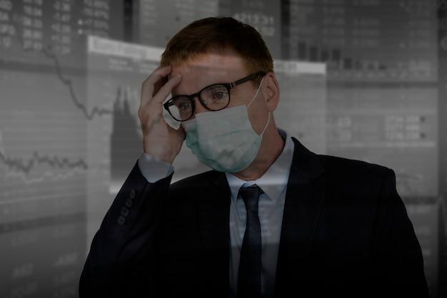コロナウイルスの発生による金融危機のビジネスマン
