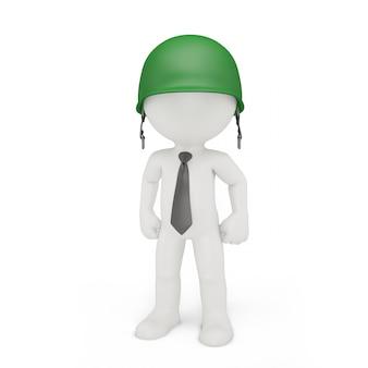 軍用ヘルメットのビジネスマン