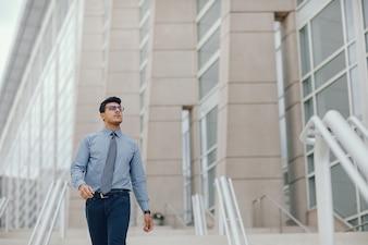 Businessman in a summer city