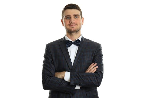 Бизнесмен в классическом костюме, изолированном на белой предпосылке.