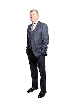 흰색 배경에 고립 된 회색 양복에 사업가입니다. 시니어 맨