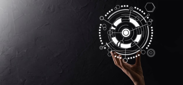 손에 든 사업가는 은행 비즈니스 재무 다이어그램을 잡고 주식 시장 투자 포인트, 경제 성장 및 투자자 개념에 투자합니다. 가상 주식 시장 차트 분석, 사용 기술로 분석