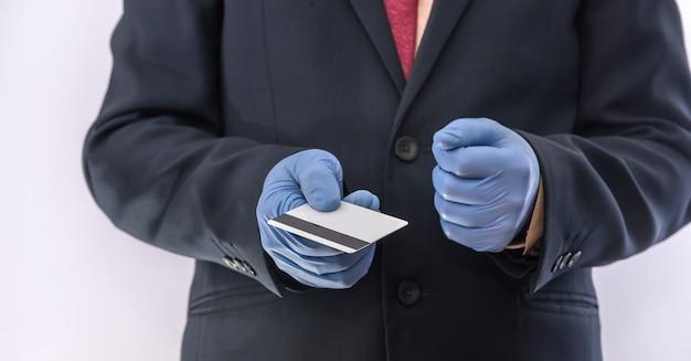 時代のパンデミック販売家のビジネスマン。すべての人の安全。 covid 19
