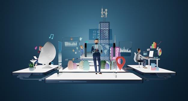 Бизнесмен в костюме персонажей, работающих в виртуальном офисе с интеллектуальной платформой данных. анализ диаграмм, графиков, стратегии, управления, онлайн-общения, социальных и поисковых концепций. 3d-рендеринг.