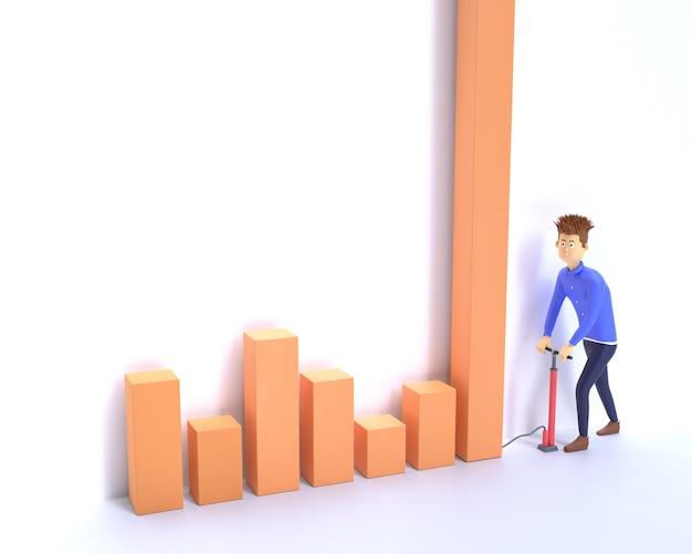 Businessman inflate a financial  chart 3d render