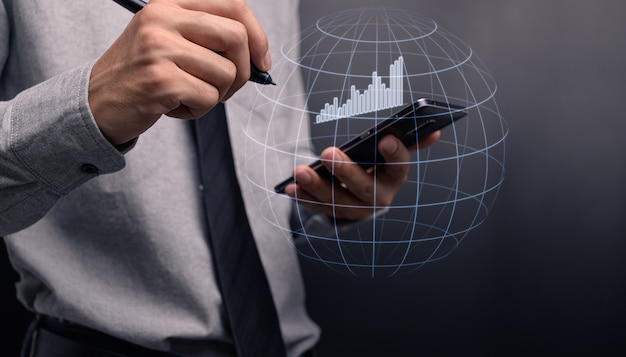 Businessman investing in stocks display hologram graph business growth illustration