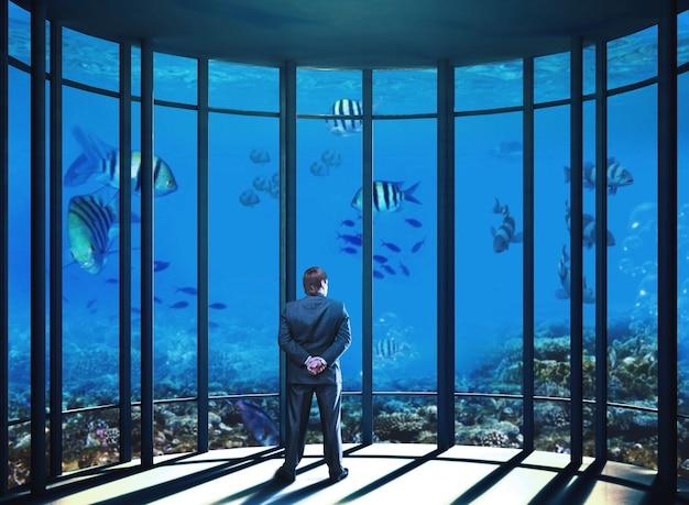 ビジネスマンは水中の海の生き物を見ています
