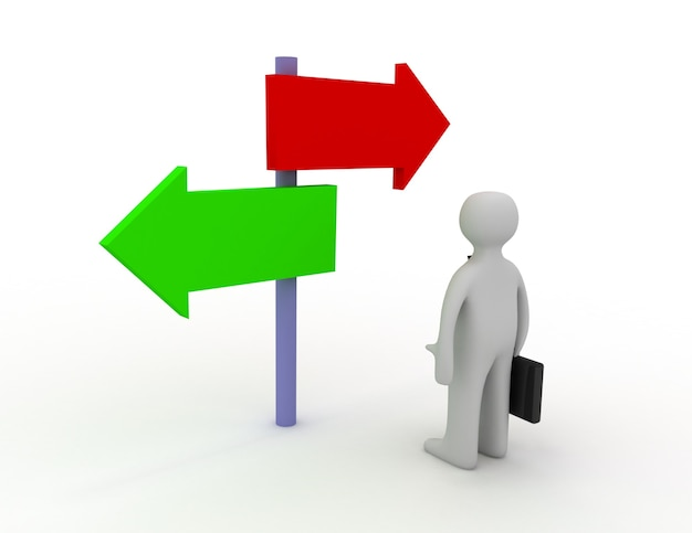 사업가가 서로 다른 방향을 가리키는 두 개의 표지판을 보고 있다