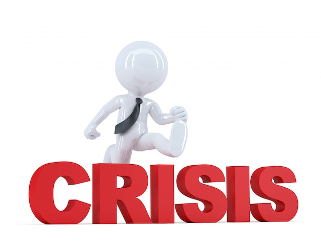 Businessman jumping over 'crisis' sign. isolated. contains clipping path