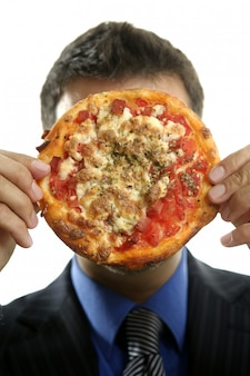 Businessman and junk fast food, pizza