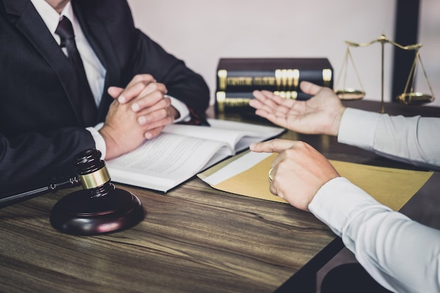 Businessman and lawyer or judge consult having team meeting with client