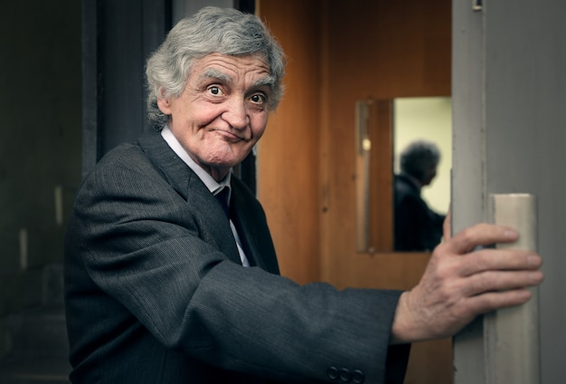 Businessman in a lift