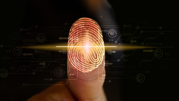 Businessman login with fingerprint scanning